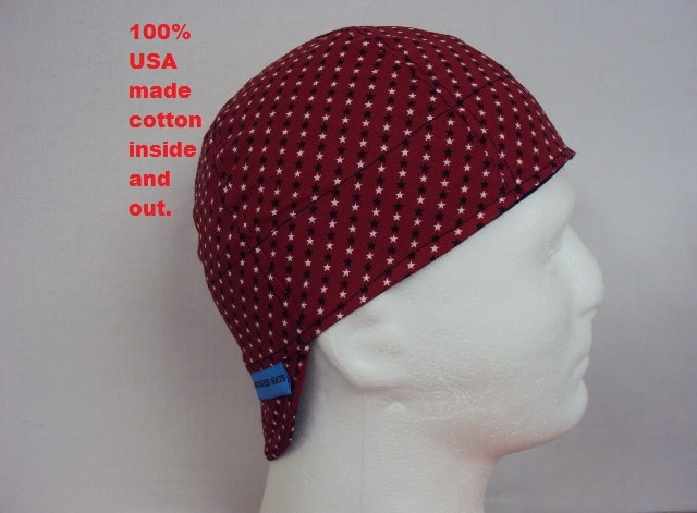 Blue and White Stars on Red Welding Cap