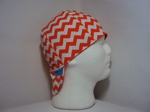 Orange and White Chevrons Welding Cap