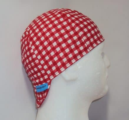 Red And White Checks Welding Hat