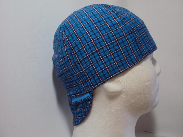 Blue Plaid Welding Cap