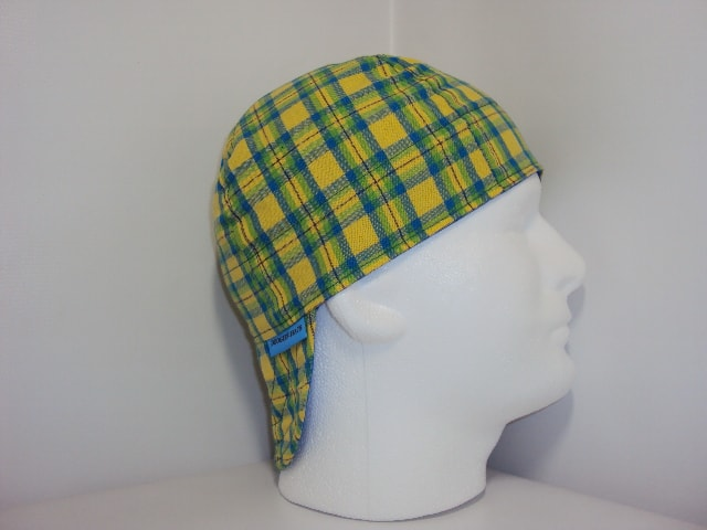 Yellow And Blue Plaid Welders Cap