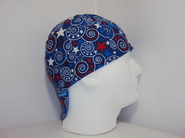 Red White And Blue Stars Welding Caps