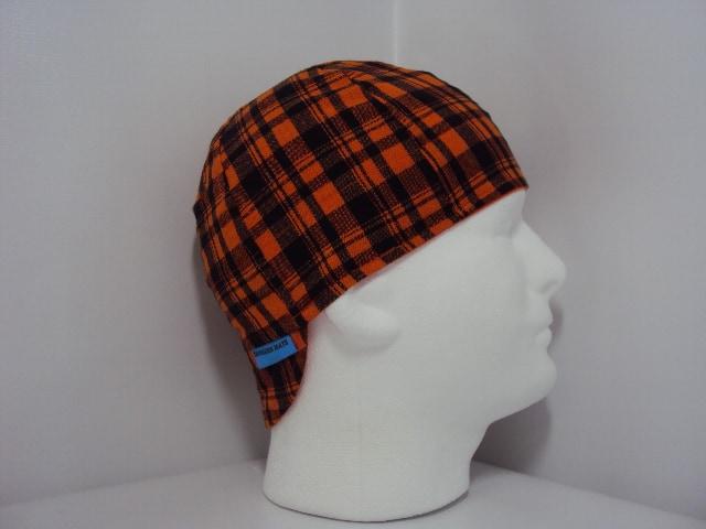 Black and Orange Plaid Welders cap