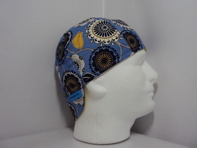 Blue Floral Welding Biker Cap Hat 6 Panel Handmade